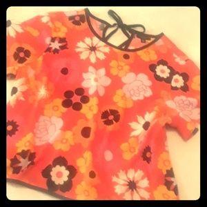 Victoria Beckham 2X orange floral top NWOT